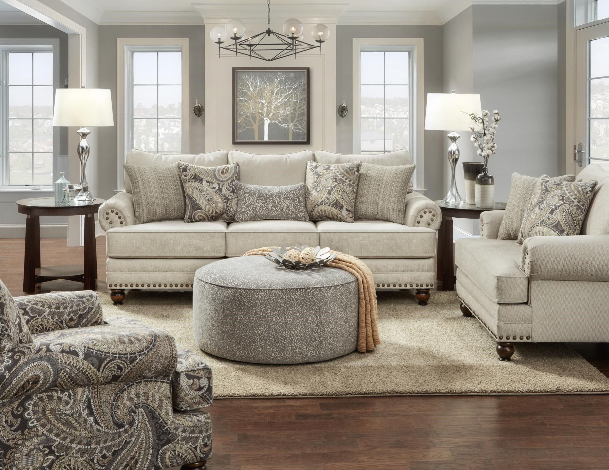 Fusion Furniture 2820 2820 Kpcarys Doe Cary S Doe Traditional Sofa With Nailhead Trim Great A 4 Piece Living Room Set Farm House Living Room Living Room Grey