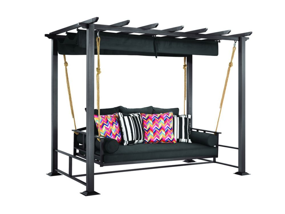Pacific Landing Steel Aluminum Swing With Flat Canopy Outdoor