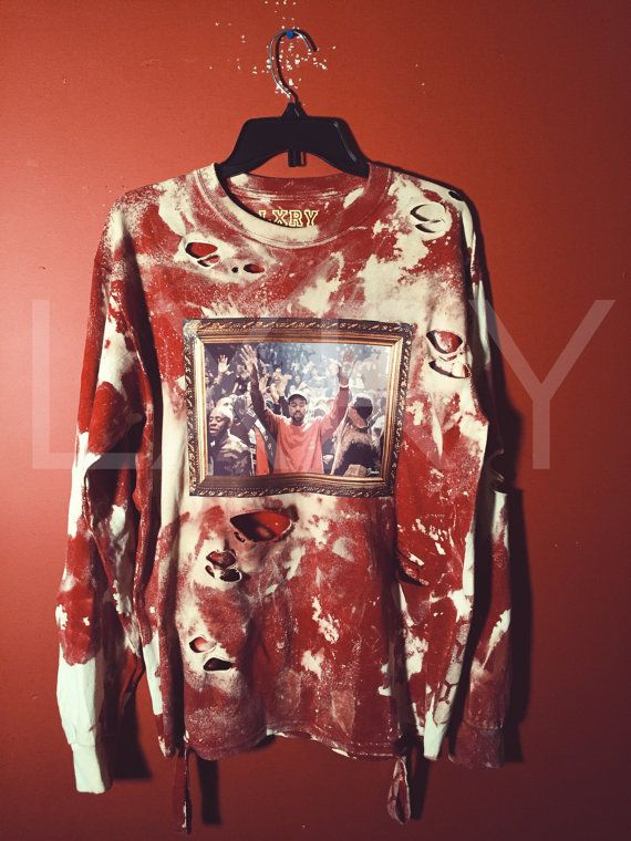 6615291a4988c Distressed and destroyed hoodie -bleach wash and dyed -Very detailed  Constructed rips -kanye painting on front. Yeezus Pablo TLOP long sleeve  Tour ...