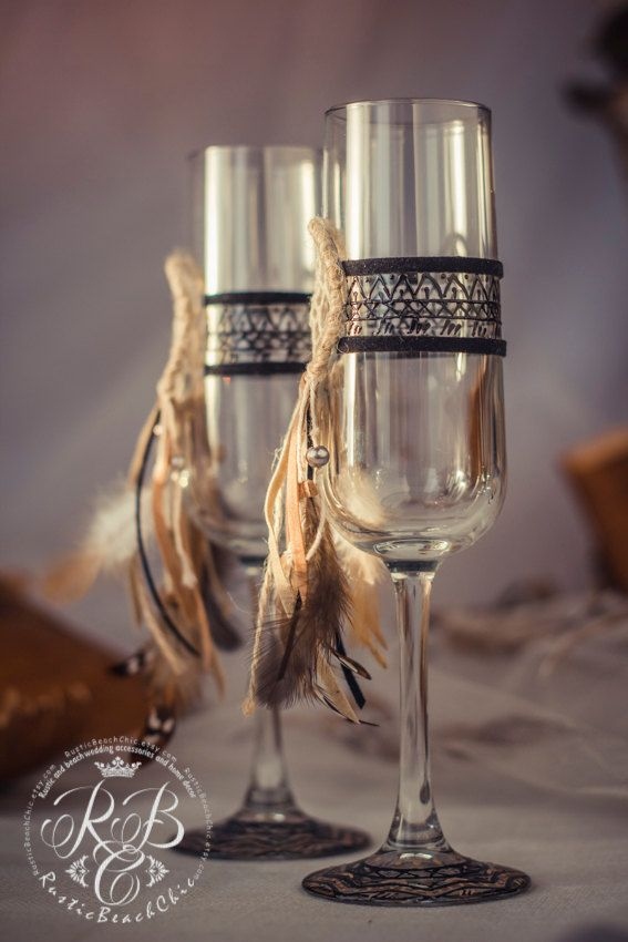 Native American Wedding Champagne Flutes Dream Catcher Wedding