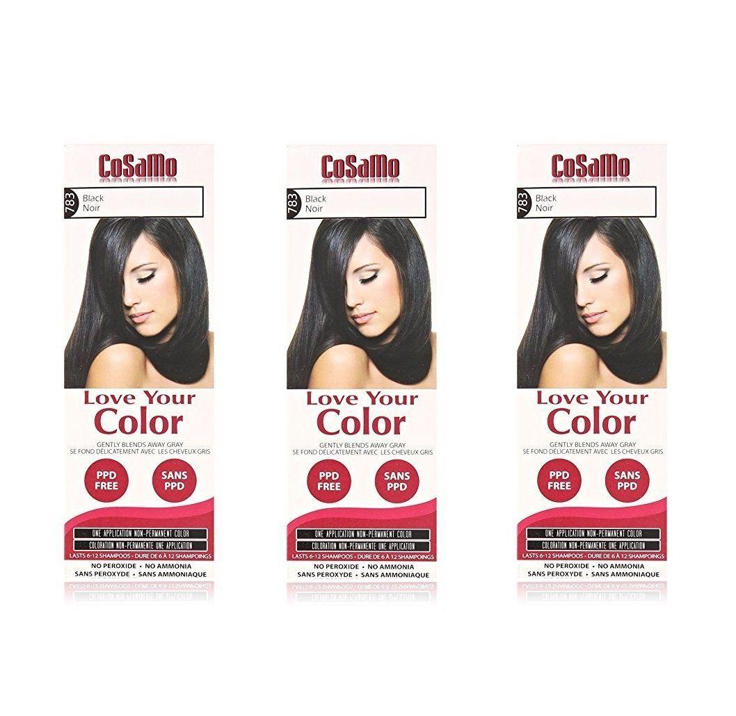 Cosamo Love Your Color Non Permanent Hair Color 783 Black 3 Oz