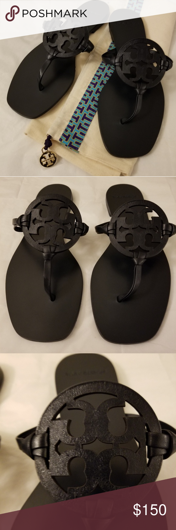4ca96e904a81e0 NWOB Tory Burch Miller Square-Toe Sandals - Navy Brand New! Never Worn!