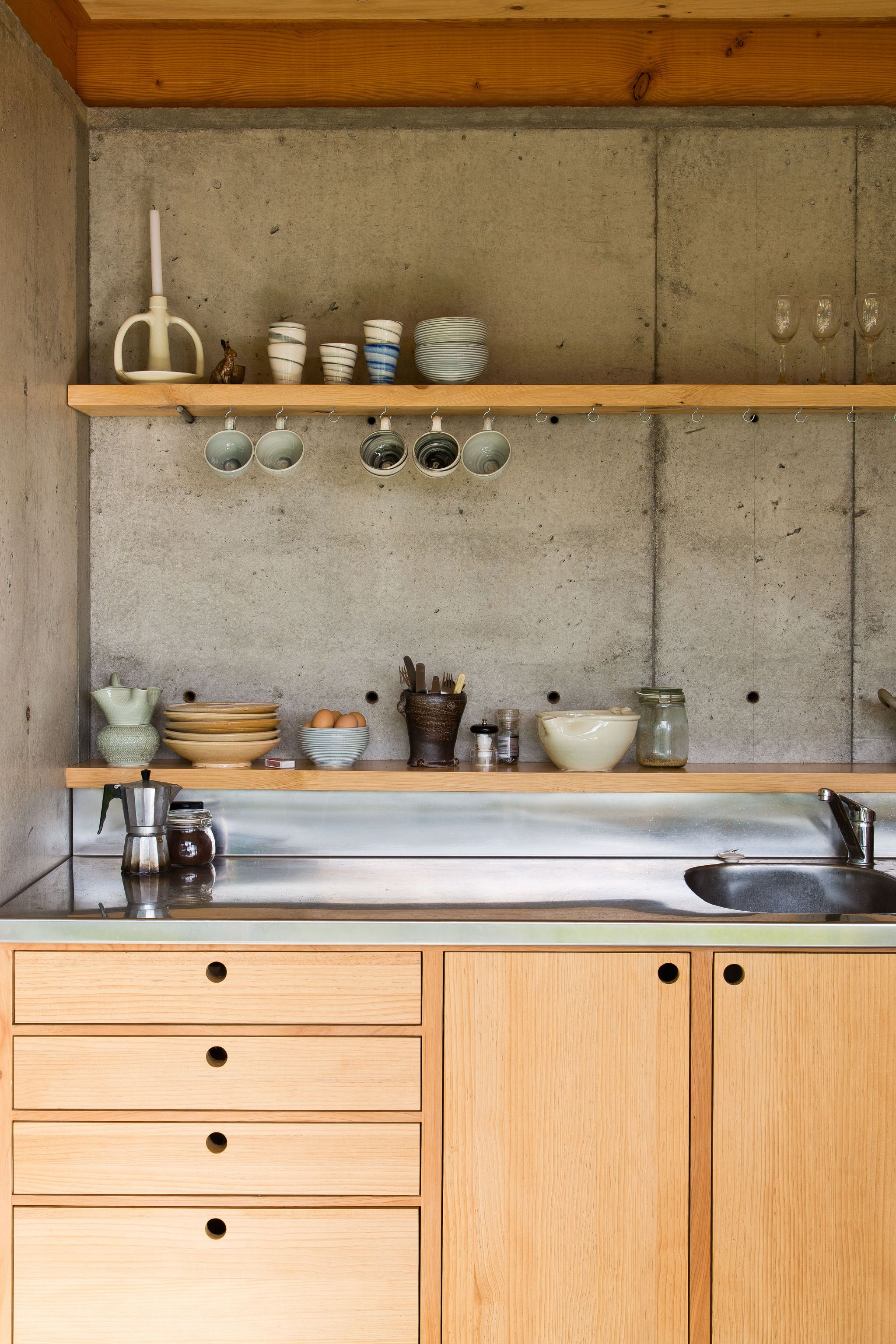 Concrete Slab Walls And Wooden Bench Cupboard Kitchen  Patch Delectable Timber Kitchen Designs Review