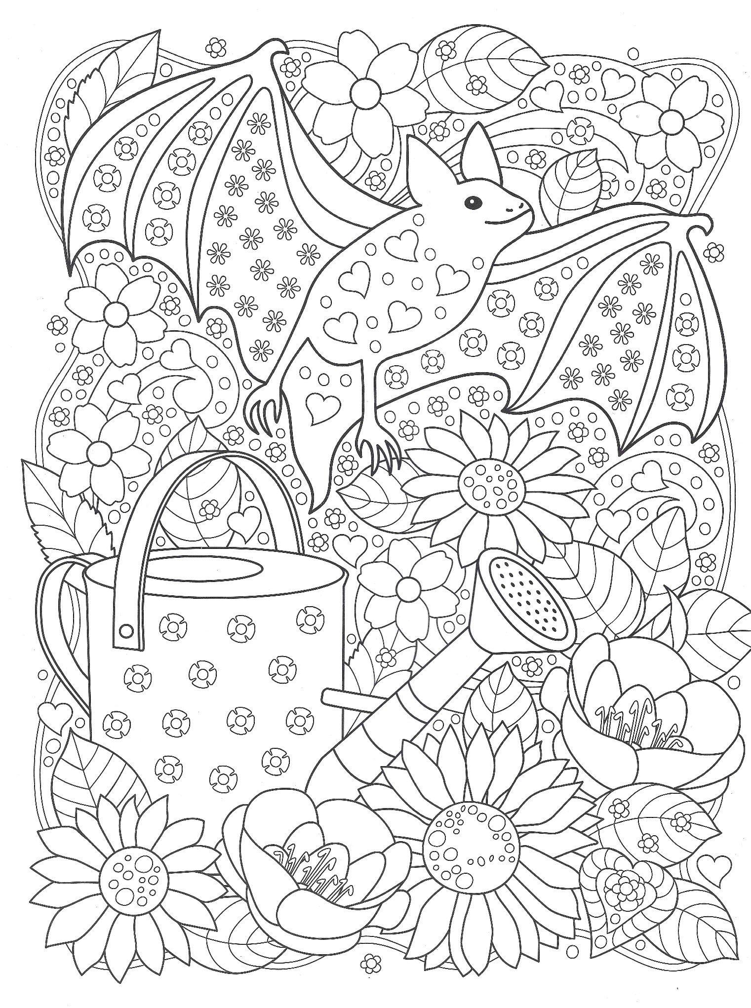 Раскраски «Животные» - «Летучая мышь в саду» | Раскраски ...