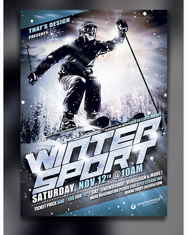 Winter Sports Flyer Poster Template Party Flyer Templates For