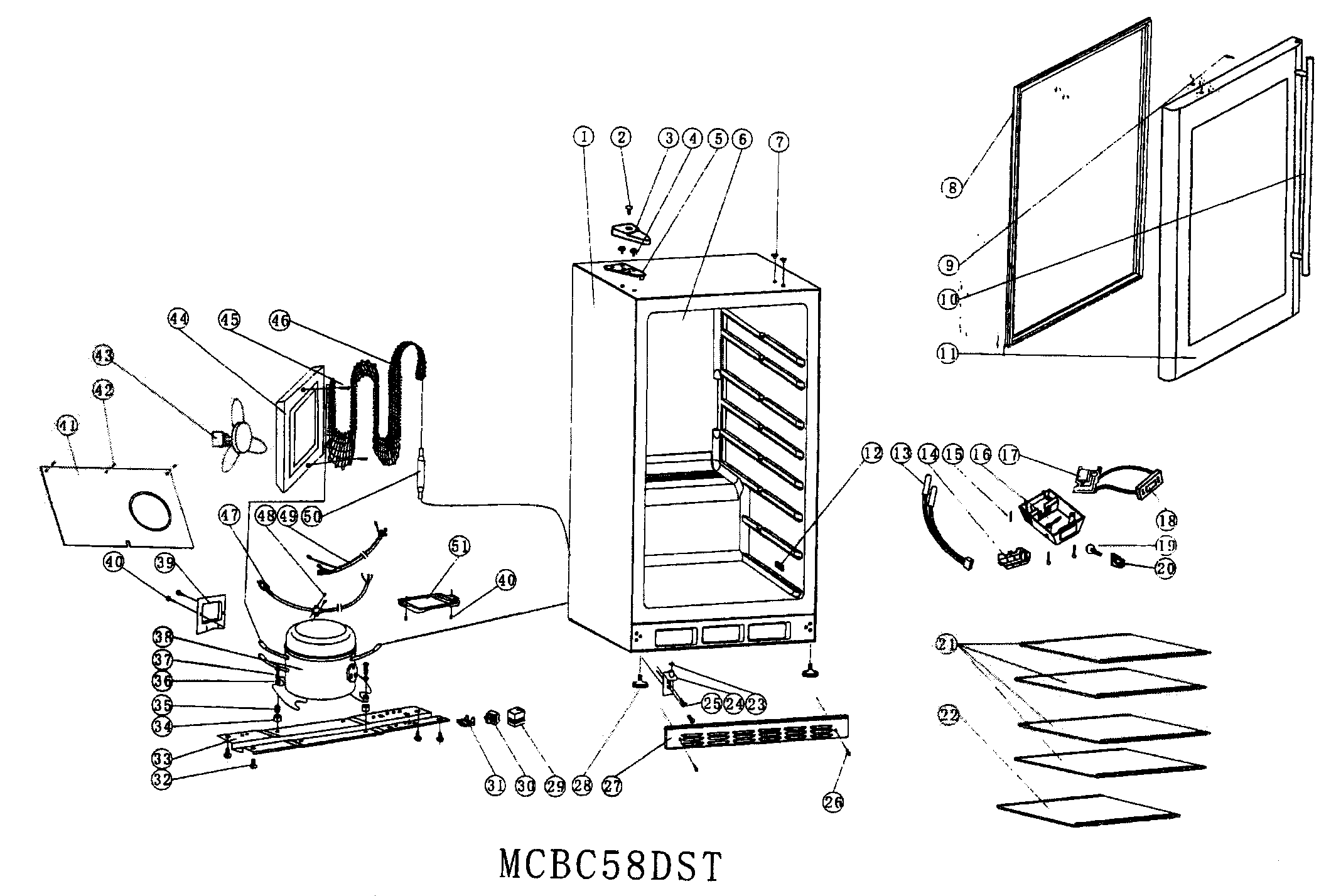 CABINET PARTS Diagram & Parts List for Model MCBC58DST