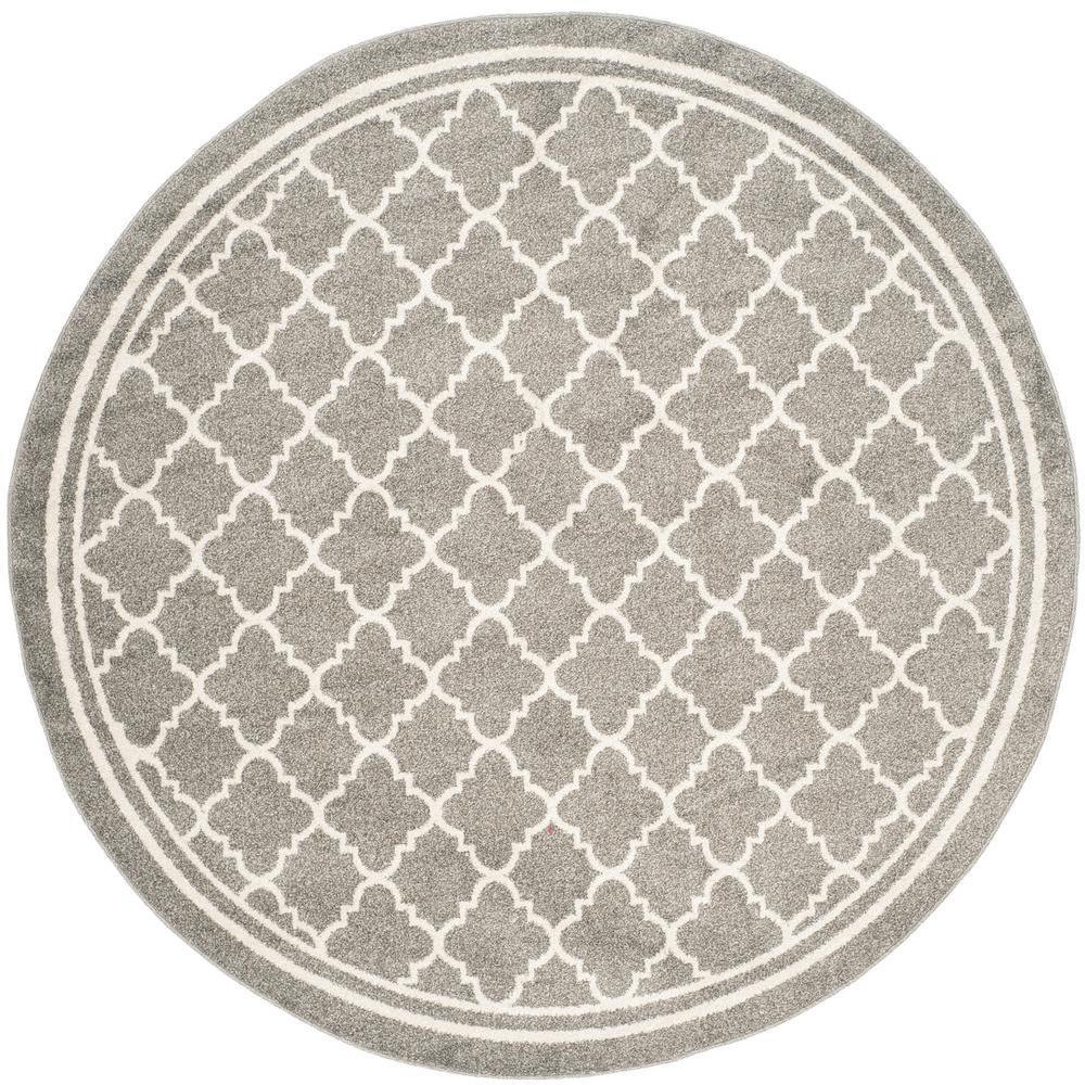 Safavieh Amherst Kelly Dark Gray Beige Round Indoor Outdoor Moroccan Area Rug Common 9 X Actual