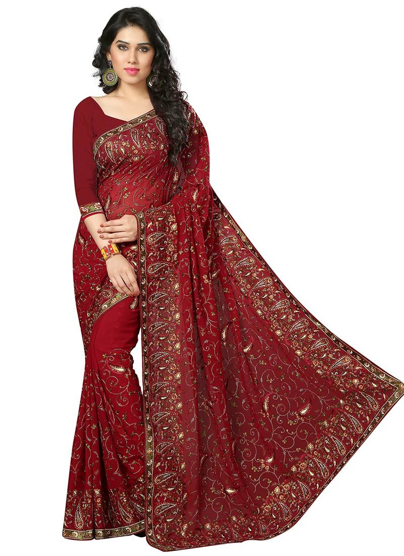 1f7a068100 Maroon Georgette Embroidered Saree. Maroon Georgette Embroidered Saree  Indian Designer Sarees, Buy Sarees Online ...