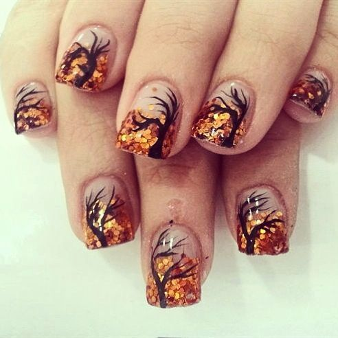 A wonderful looking fall tree nail art design using clear background, black  polish for the tree and orange sequins for the leaves. - Autumn Nails|_|_|_|_Pinterest Autumn, Autumn Nails And