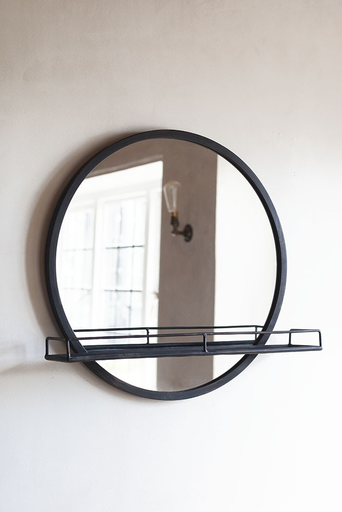 Black Metal Round Mirror With Shelf in 2020 Mirror with