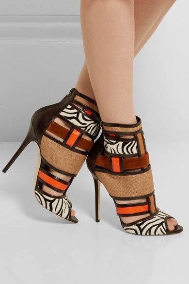 adcd5ffc44d2 Heel measures approximately 120mm  5 inches Dark-brown and orange leather