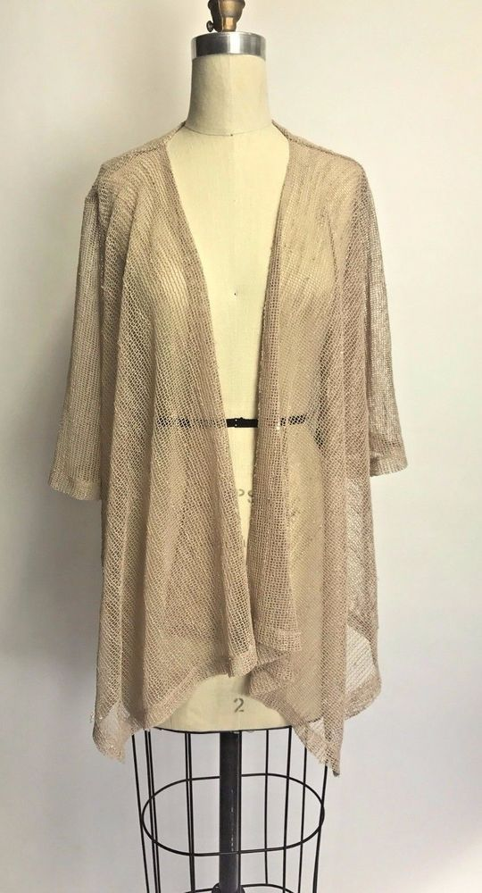 Vintage 90s Boho Gypsy Mesh Tan Gold KIMONO Cardigan Shawl Jacket ...