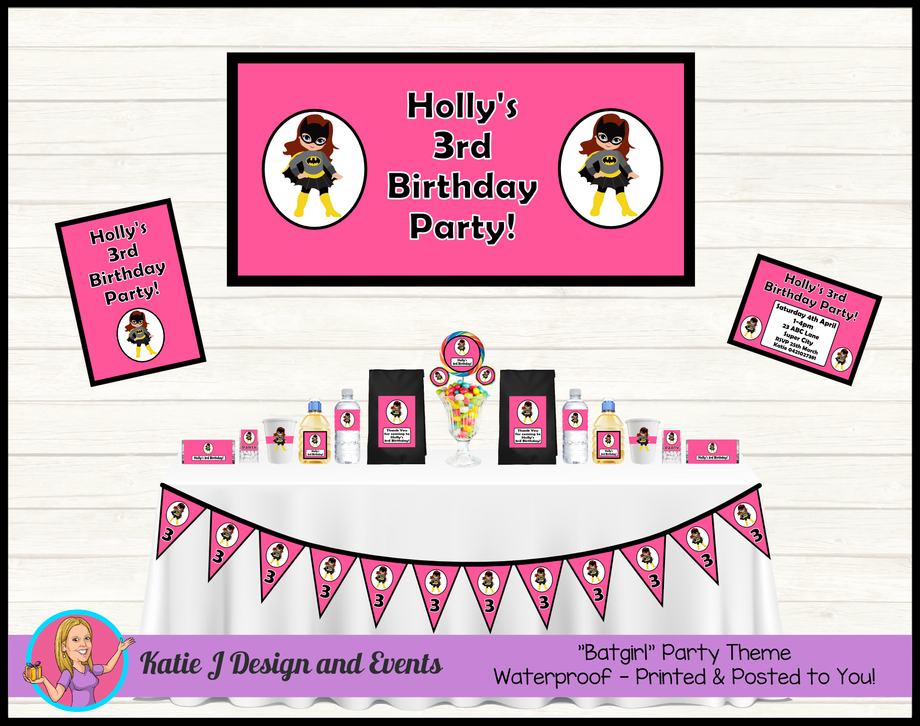 party decoration Personalised Girl Super Hero Dc bunting birthday
