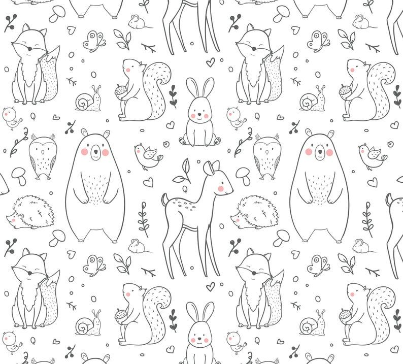 Black And White Woodland Creatures Removable Wallpaper Etsy Woodland Creatures Peel And Stick Wallpaper Removable Wallpaper