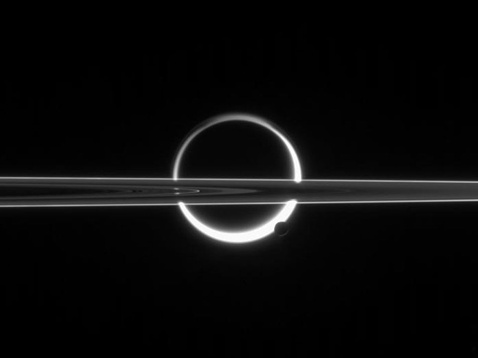 2013 July 29: Saturn, Titan, Rings, and Haze (Image Credit: Cassini Imaging)