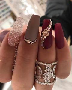 Burgundy Casket Nails With Diamonds Casket Nails Birthday Nail Art Dream Nails