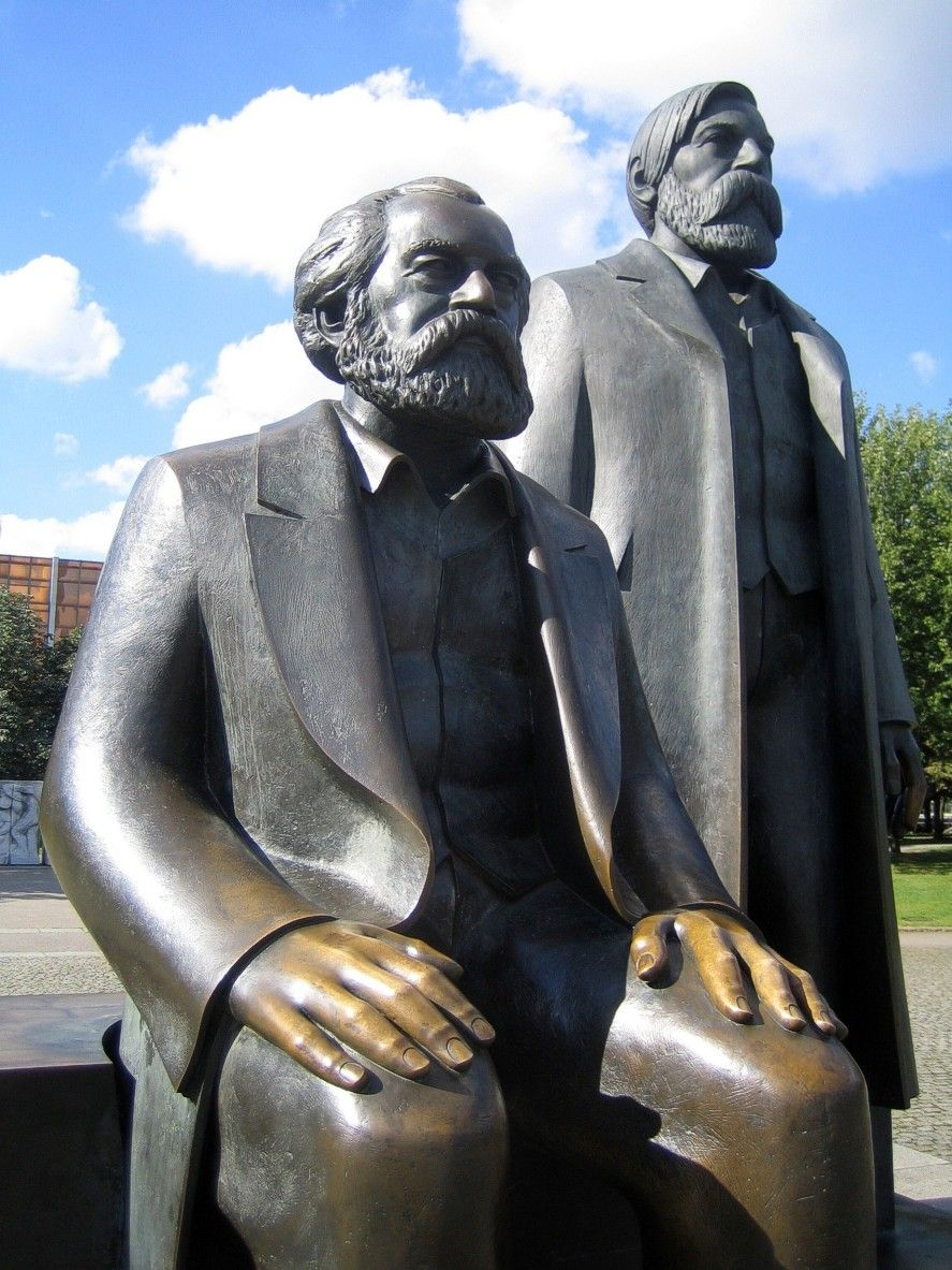 Statues Of Karl Marx And Friedrich Engels Berlin Germany These