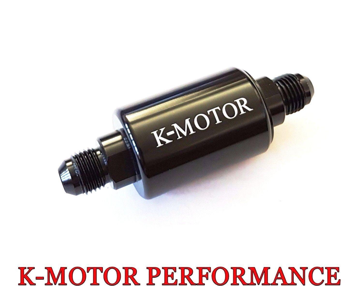 k-motor an6 100 micron black aluminum inline fuel filter /petrol universal  fit