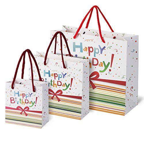 Birthday Gift Bags Set Rainbow Confetti Bow Design 3 Pack Sma