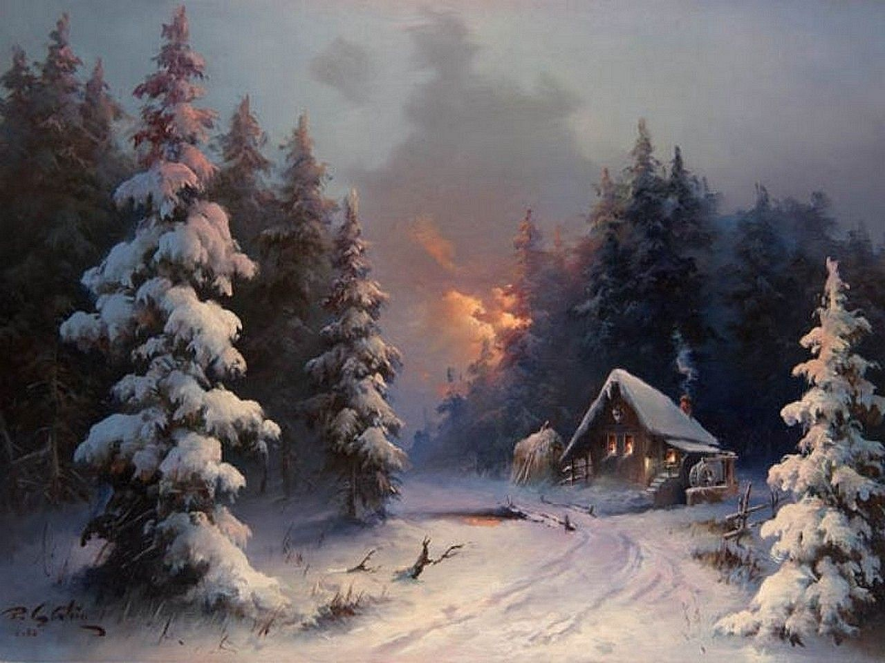 Winter Painting Winter Landscape Painting Snow
