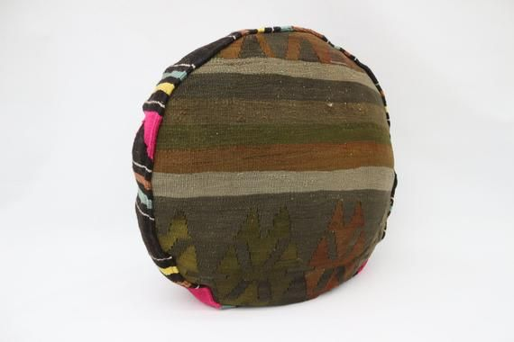 Aztec Kilim Pouf,Camping Puff,24x24x6 Pear Seat,Brown Pouf,Circle Pouf,Floor Pillow Cover,Garden Pou