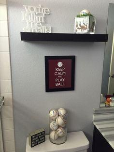 Baseball Themed Bathroom Update Sports Bathroom Boys Bathroom Decor Baseball Bathroom