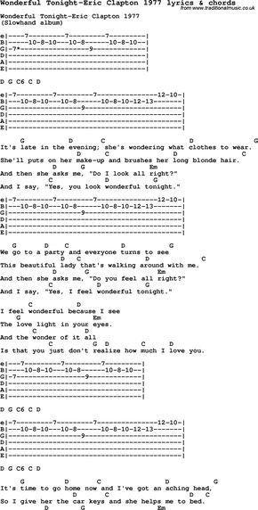 Love Song Lyrics For Wonderful Tonight Eric Clapton 1977 With