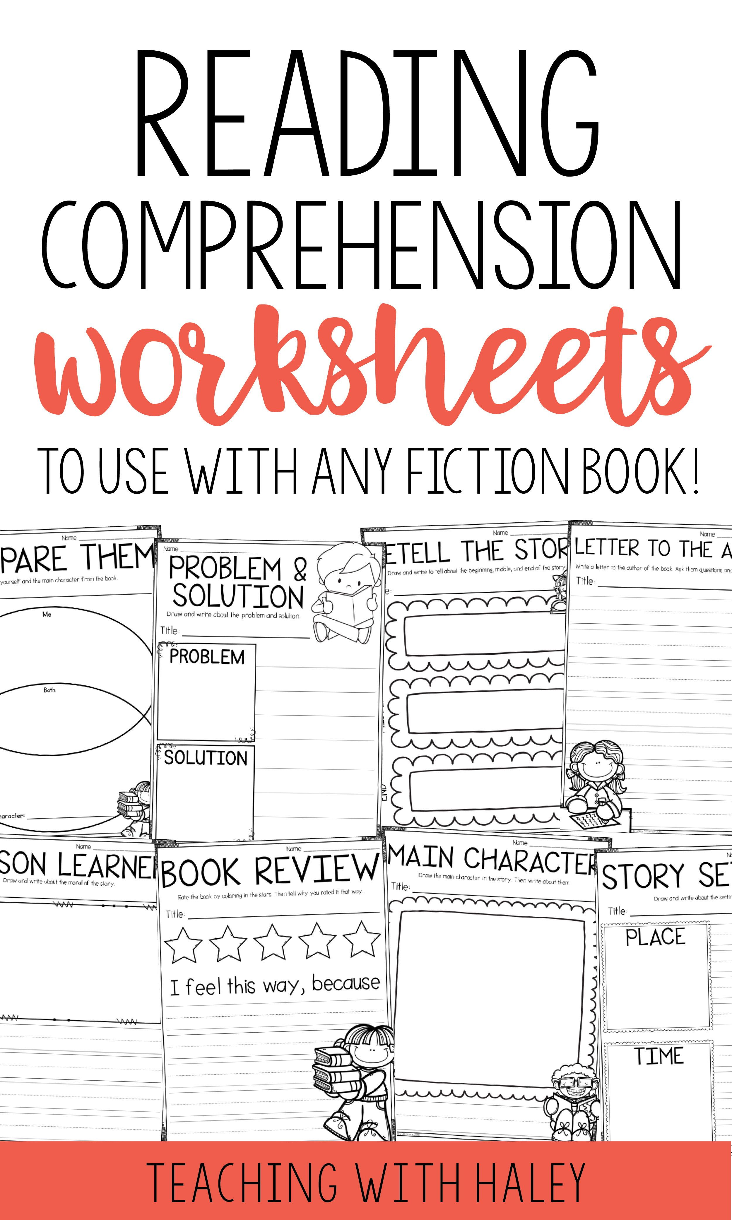 Comprehension Pages For Any Fiction Book