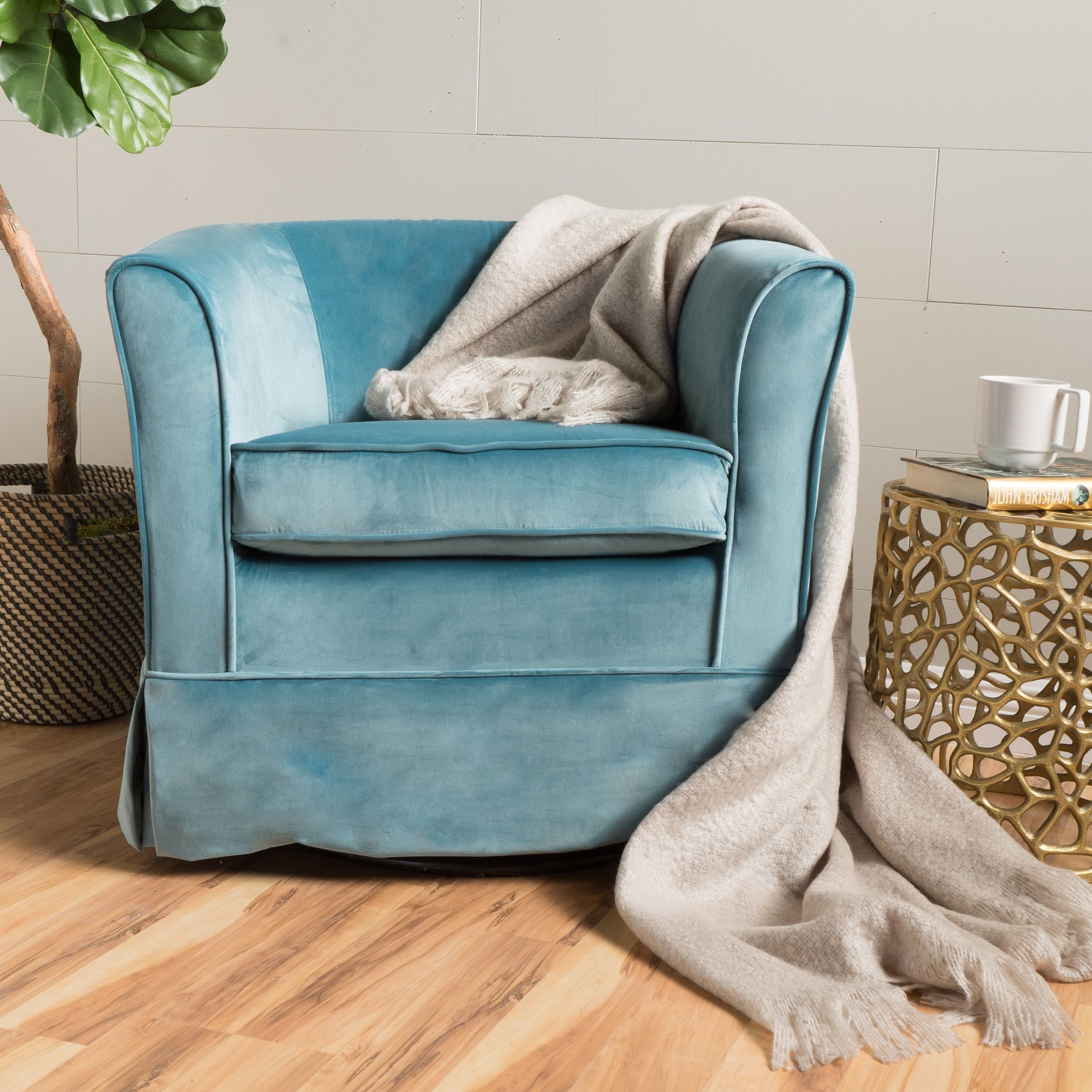Cecilia Velvet Swivel Club Chair By Christopher Knight Home (Blue) (Fabric)