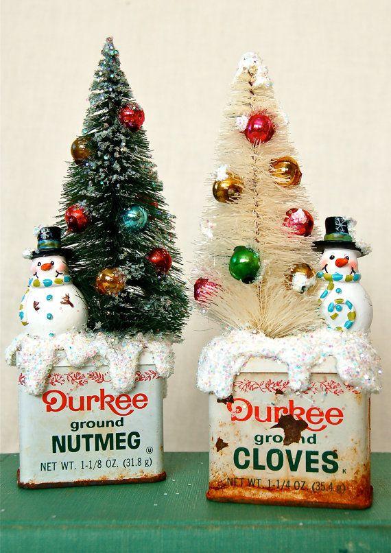 Bottle Brush Tree & Vintage Cloves Spice Tin by JenniferAllison