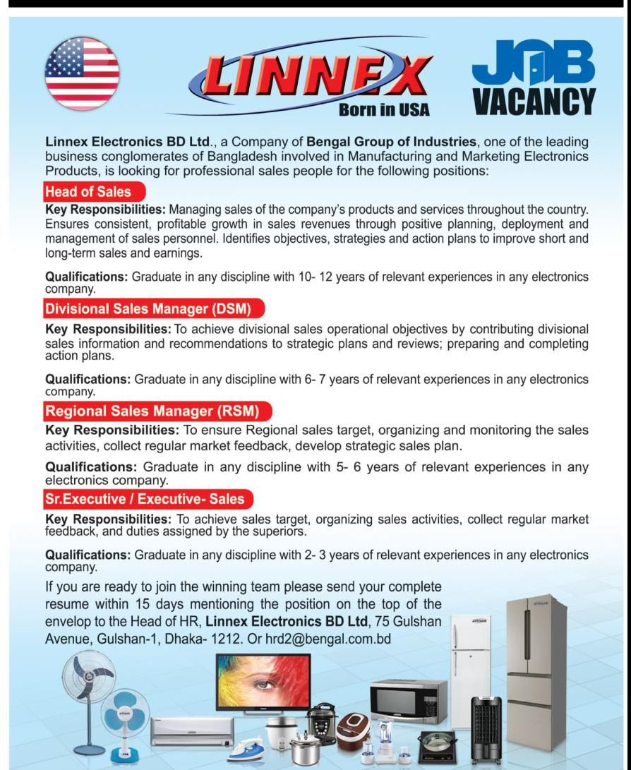 organization linnex electronics ltd post head of sales and more - Electronics Sales Jobs