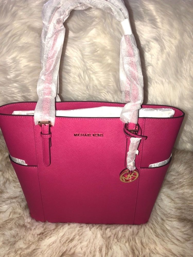 aa143e37326d Michael Kors Authentic New Jet Set Travel Large Tote Ultra Pink Leather NWT   198