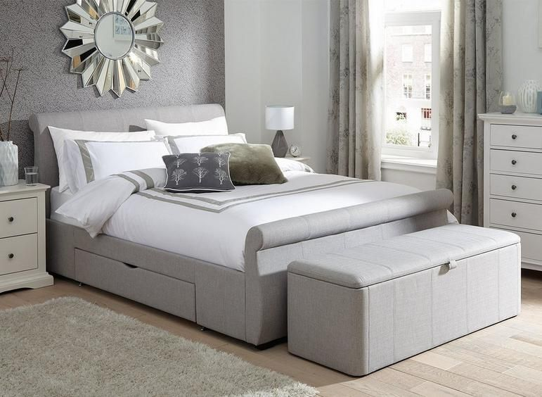 Lucia Silver Fabric Upholstered Bed Frame 5 0 King Size Dreams Upholstered Beds Bed Frame Grey Bed Frame