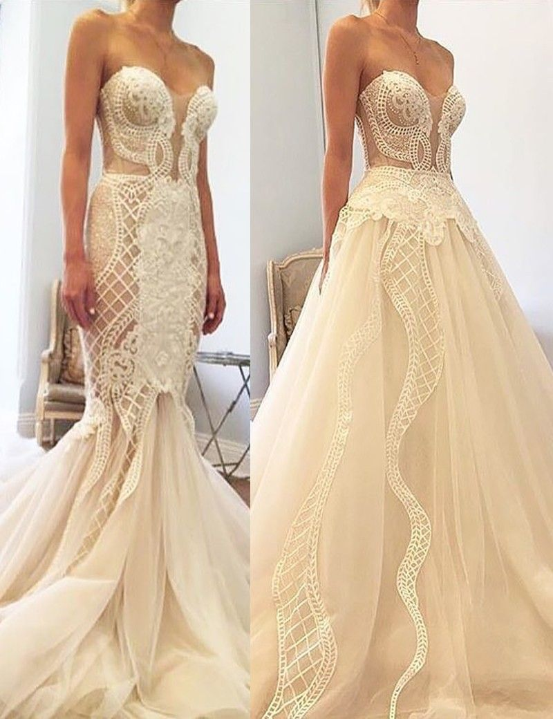 Mermaid wedding dress with detachable train  Mermaid Sweetheart Detachable Train Wedding Dress with Beading
