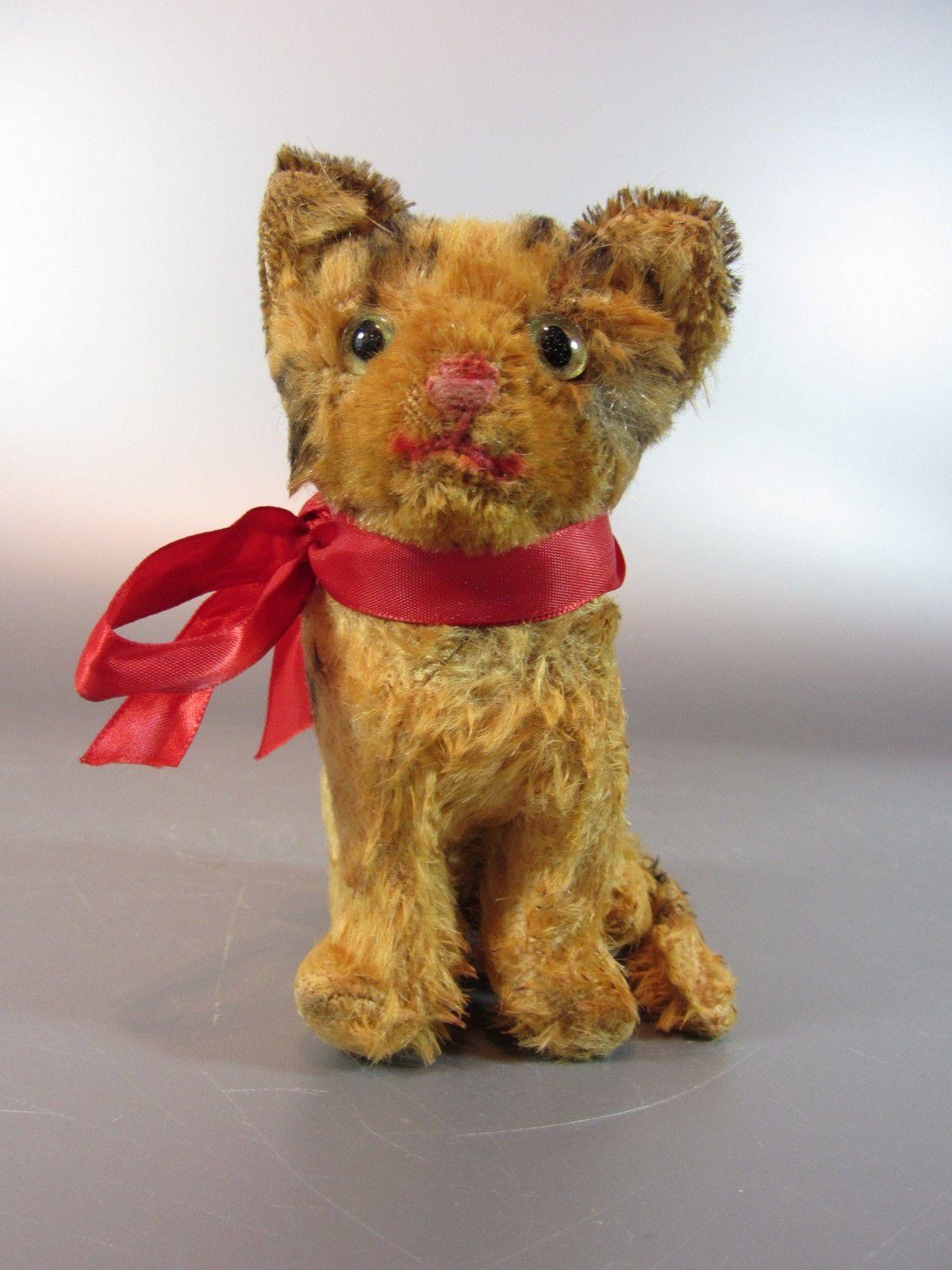 Details about Antique Steiff Mohair plush sitting Cat