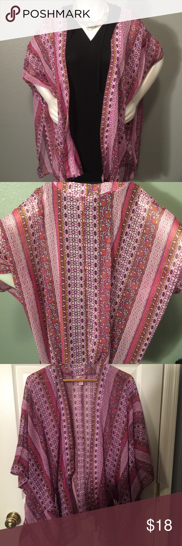 Kimono Multi Color Stripe Kimono Multi Color Stripe Pink and Magenta Color Size XLarge Fit is Oversized Flowy No Rips No Stains Super Feminine Can Be worn Over Skirts, Dresses, Slacks or Even a Swim Suit. Would look great with Jeans and Boots Side Pockets and Split on Either Side Reposh No Trades Arizona Jean Company Sweaters Shrugs & Ponchos