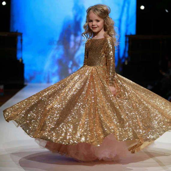 899a5c8c119 Gold flower girl dress great gatsby dress gold pageant dress