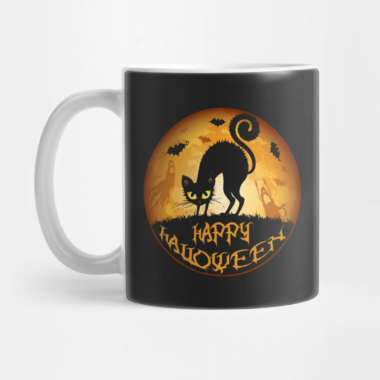 HAPPY HALLOWEEN MEOW CAT AND NIGHT MUG , Shirts, Hoodie