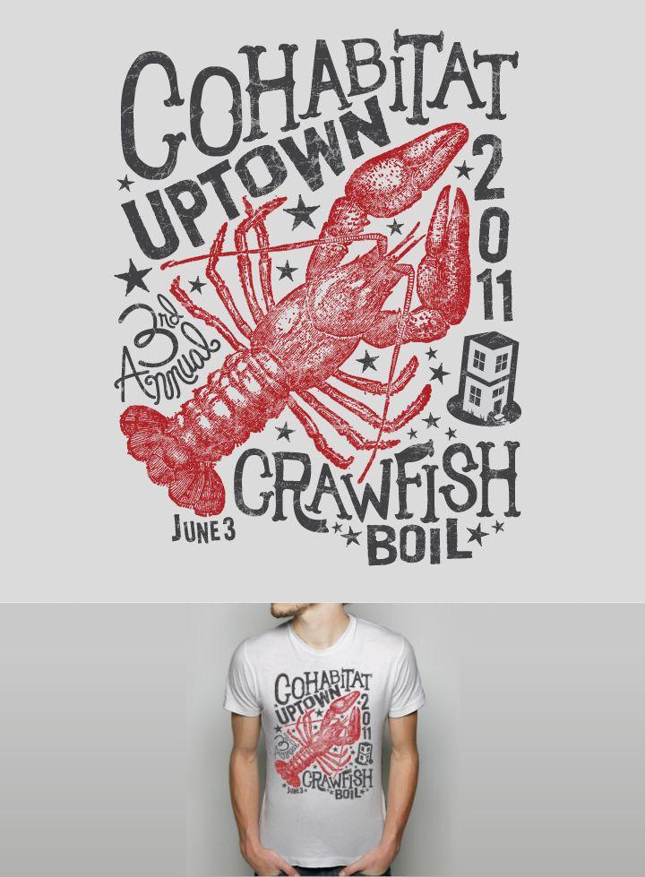 2f5f90973 Cohabitat Uptown Crawfish Boil | Graphic Tees | Crawfish party, Shirt  designs, Design
