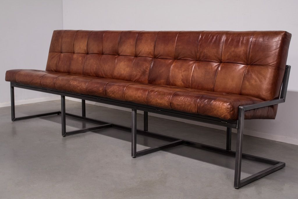 Buffalo Industrie Sitzbank Vintage Leder Rückenlehne