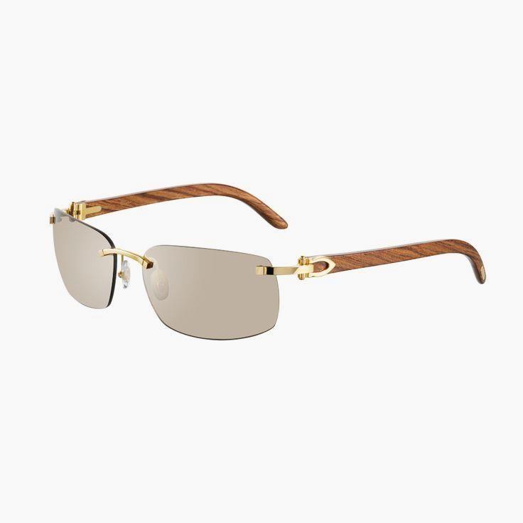 Cartier Rimless sung Cartier Rimless sunglasses with C decor - Golden finish, wood, brown lenses - Fine Sunglasses for men - Cartier