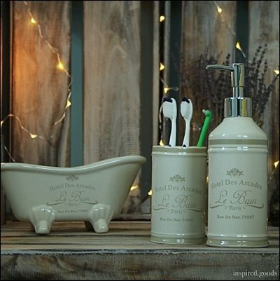 French Style Ceramic Bathroom Accessories Toothbrush Holder Soap Dispenser Bath Tidy