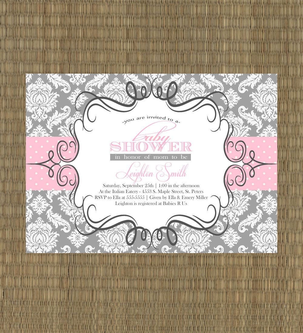 Pink and Gray Baby Girl Shower Invitation - Damask Baby Shower ...