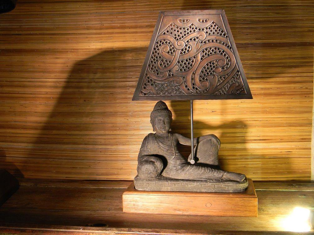 Buddha Table Lamp Teak Base Copper Hood Hand Made Fine Art