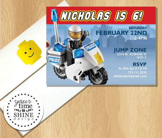 Lego Motorcycle Police Birthday Invitation With By YourTimeToShine