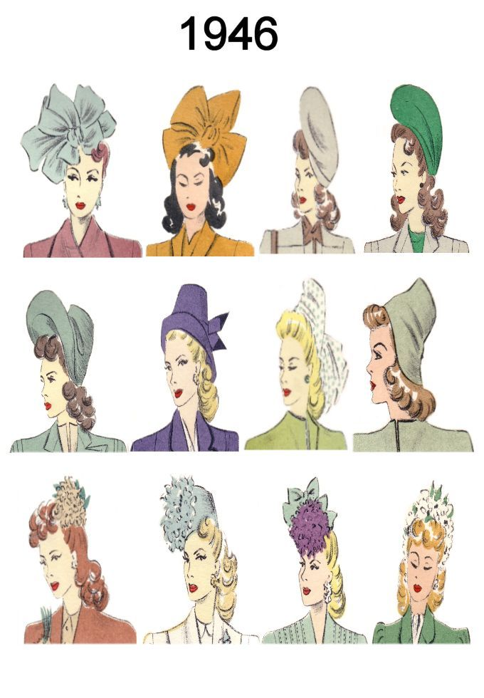 Hat And Hair Style Fashion History Images 1946 1949 Hat Fashion Women Fashion History Hats Vintage