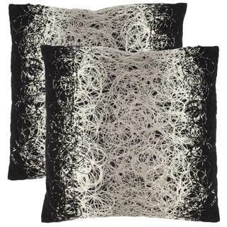 safavieh swirls 18 inch black decorative pillows set of 2 by safavieh - Black Decorative Pillows