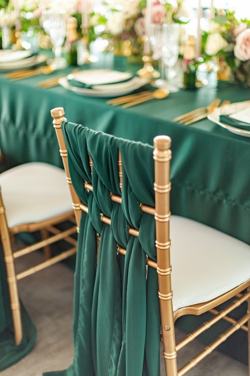 Chair Cover Linen Decor Emerald Wedding Ideas Emerald And Gold