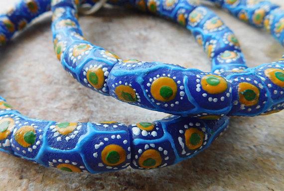 Krobo African trade beads Ghana powder glass beads recycled glass Fancy Eye new