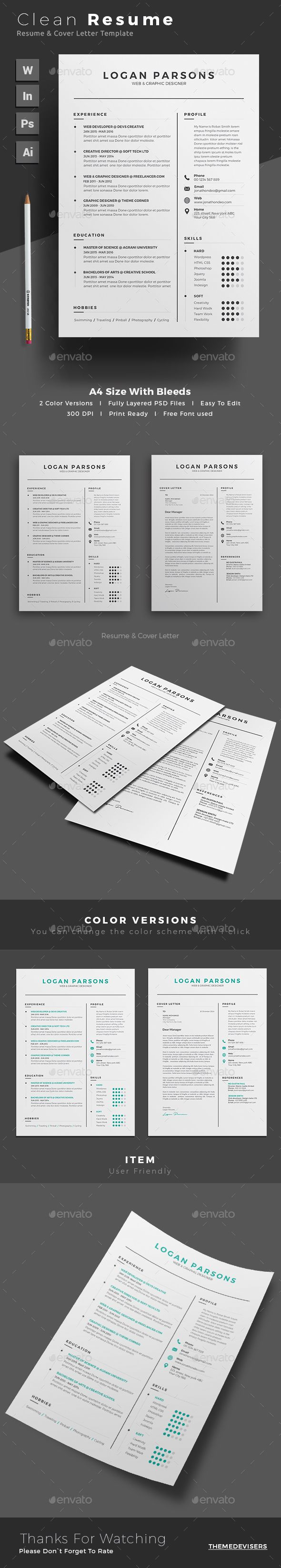 Resume by themedevisers Professional Resume Word Template. Elegant ...